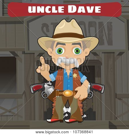 Fictional cartoon character in Wild West - Wise uncle