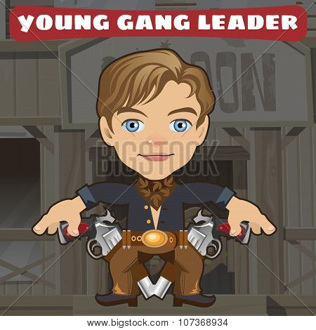 Cartoon character in Wild West - young gang leader