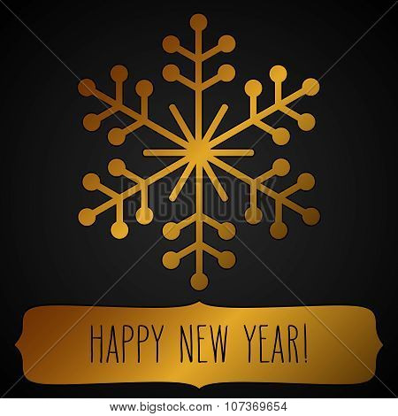 Golden Snowflake Frame And New Year Greetings