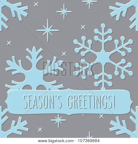 Seamless Pattern With Snowflakes And Season's Greetings