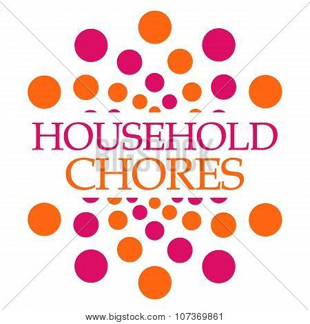 Household Chores Pink Orange Dots Squares