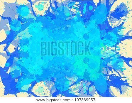 Blue Watercolor Paint Splashes Background
