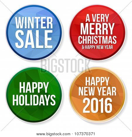 Set Of Winter Holidays Circle Buttons