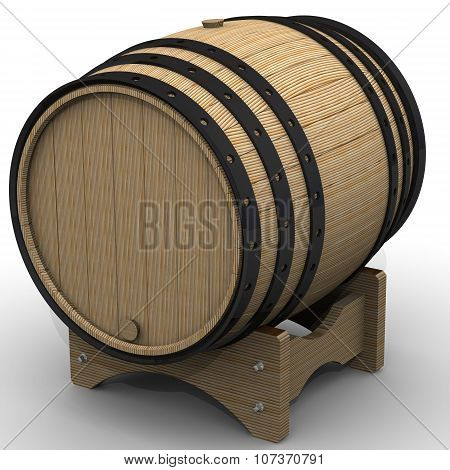 Wooden barrel on a stand