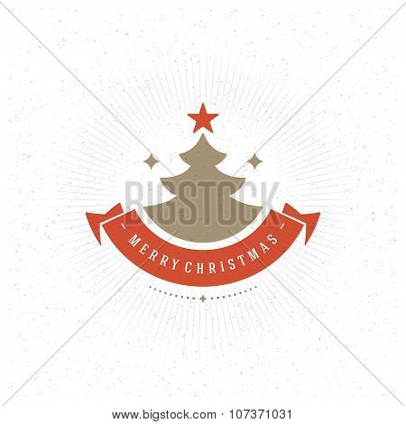 Merry Christmas Greeting Card Typography and Decorations Vector Background