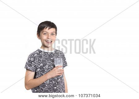 Young Boy With Milk On His Top Lip