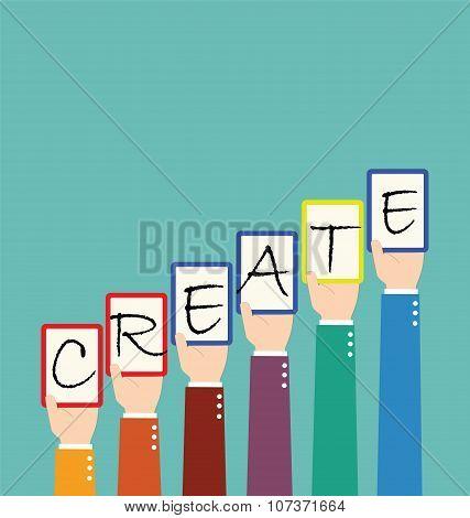 Businessman Hold Create Wording Tag