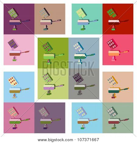 Modern flat icons vector collection with shadow chocolate fondue