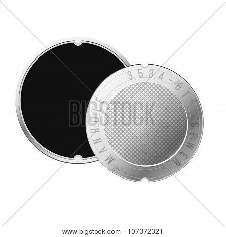 Opened Street Manhole. Isolated On White Background. Top View