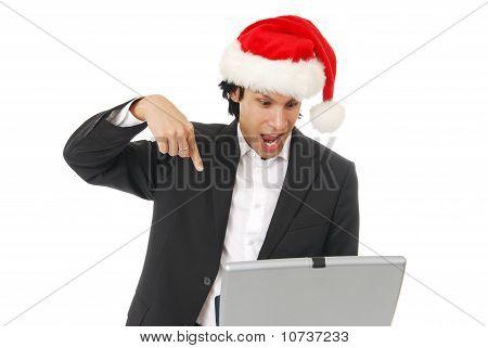 Erstaunt Geschäftsmann zu Weihnachten