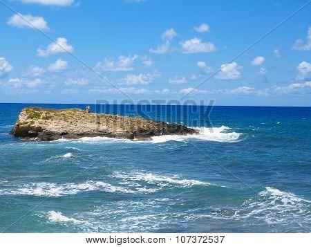 Clear Azure Sea Water Landskape And Rocks Near Crete Coast, Greece