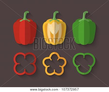 A Set Of Vegetables In A Flat Style - Paprika