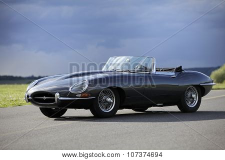 A Sports Car Jaguar E-type S3 V12 Engine, Black. Shot On Airport Pribram, 8Th August 2011, Pribram,