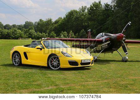 A Sports Car Porche Boxter S, Yellow. Shot On Airport Hertelendy, 26 June 2012, Hungary.