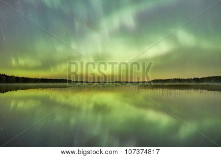 Northern Lights Lakescape At Night