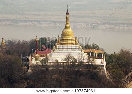 Golden Pagoda Is On Sagaing Hill, Myamar. View Frm The Top Of This Hill.