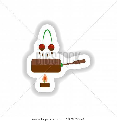 stylish paper sticker sweet cherry chocolate fondue