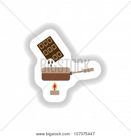 stylish paper sticker chocolate fondue on candle