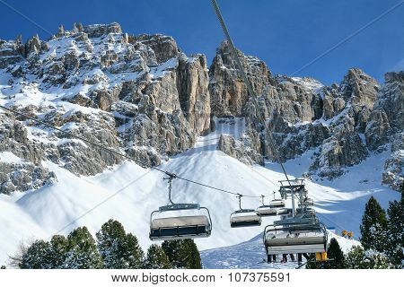 Skiing On The Dolomites, Val Di Fiemme, Italy