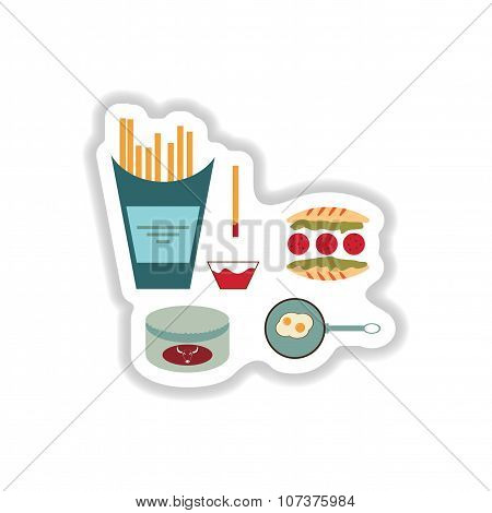assembly paper stickers on white unhealthy food