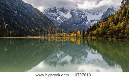 Lago Di Landro In Cloudy Autumn Day.  Italy