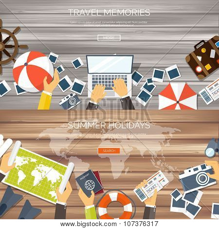 Flat travel background. Summer holidays, vacation. Plane, boat, car  traveling. Tourism, trip  and j