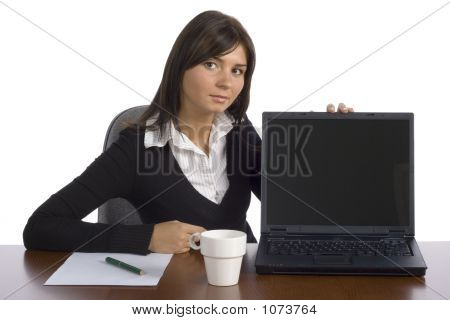 Female Office Worker Displays Screen