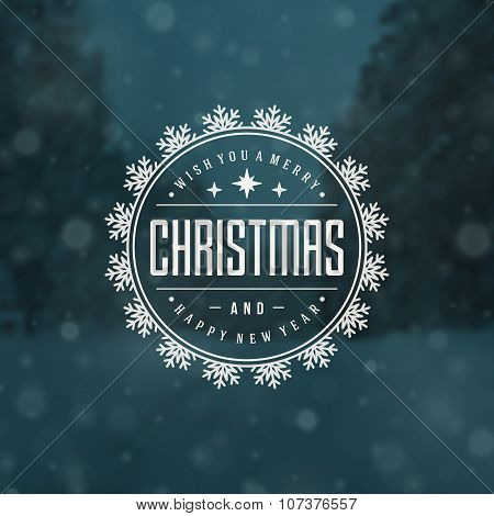 Christmas greeting card lights and snowflakes vector background