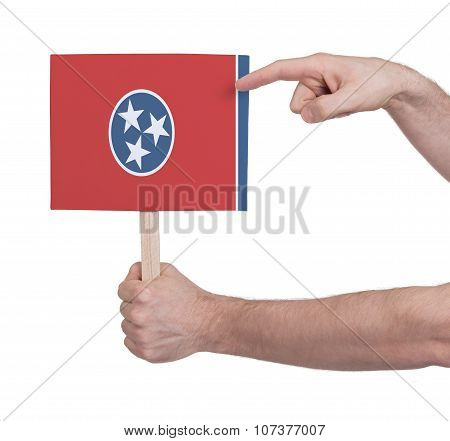 Hand Holding Small Card - Flag Of Tennessee
