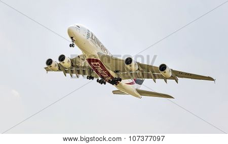 PRAGUE CZECH REPUBLUC - 1 JULY 2015: An Emirates  A380 Superjumbo in PRAGUE. The Airbus A380 is the world's largest passenger airliner. Emirates is an airline based in Dubaiassenger airliner. Emirates is an airline based in Dubai.