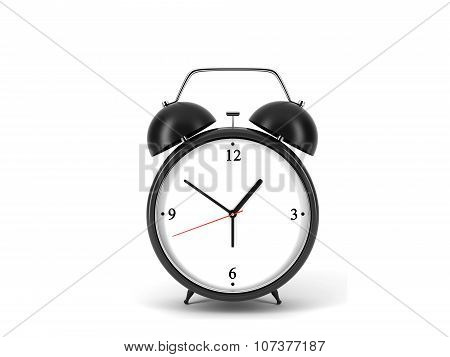A Black Alarm Clock Is On White Background With Copy Space.