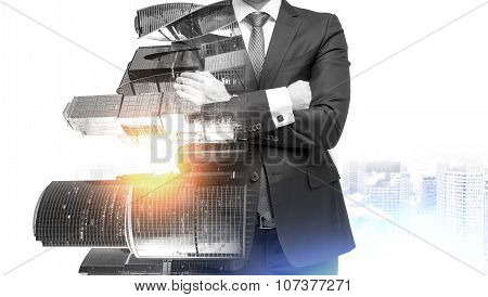 An Abstract Transparent Businessman With Crossed Hands. Moscow City Business Centre View.