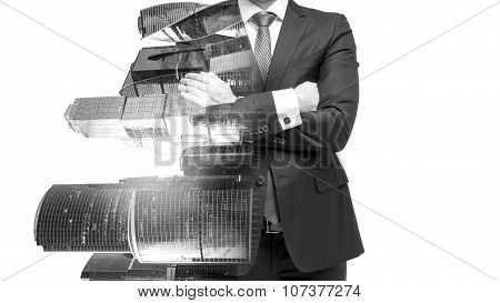 An Abstract Transparent Businessman With Crossed Hands. Moscow City Business Centre View. Black And