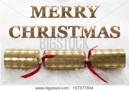 Merry Christmas Cracker In Snow Message