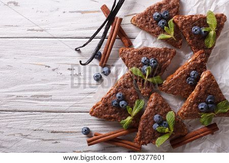 Cinnamon Toast With Vanilla And Blueberries. Horizontal Top View