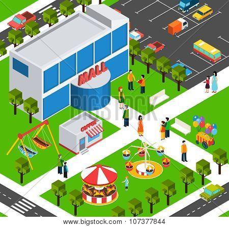 Shopping mall center isometric banner
