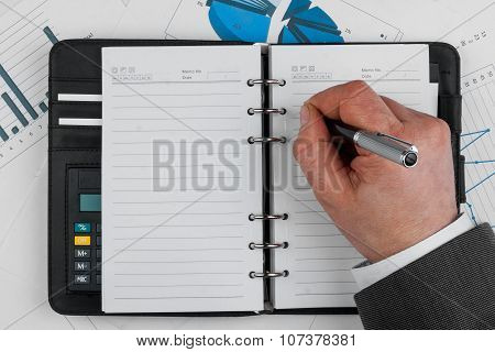Hand write on notebook blank white page with pen
