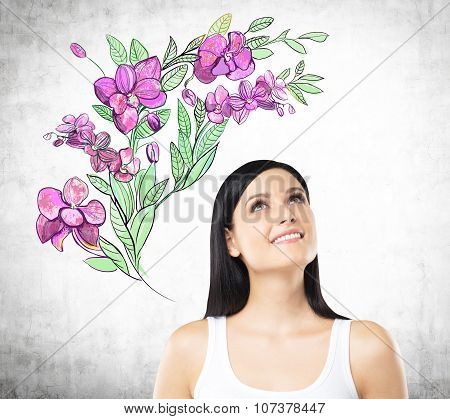 An Inspired Woman Is Dreaming About Summer Flowers. The Sketch Of Purple Flowers Is Drawn On The Con