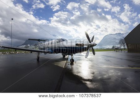 Stans, Switzerland - 29Th November 2010: Single Turboprop Aircraft Pilatus Pc-12.