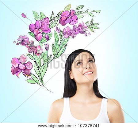 An Inspired Woman Is Dreaming About Summer Flowers. The Sketch Of Purple Flowers Is Drawn On The Lig