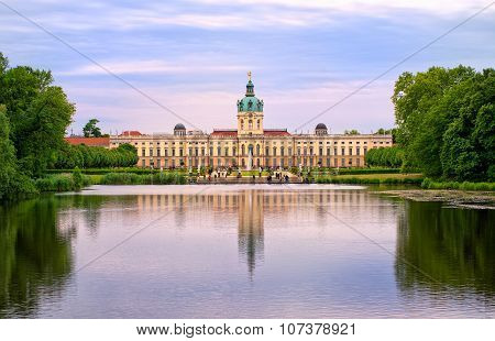 Charlottenburg Royal Palace In Berlin, Germany, View From Lake To English Garden