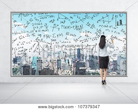 Rear View Of Business Lady Who Is Drawing Math Formulas On The New York Panoramic Poster. A Room Wit