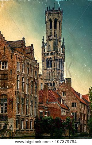 Old Postcard With Look Belfry From The Rozenhoedkaai, Historic Centre Of Bruges, Belgium