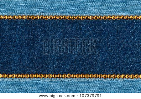 Fashionable  texture,  jeans and yellow  rhinestones