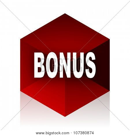 bonus red cube 3d modern design icon on white background