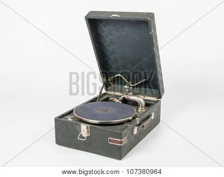General View Without Gramophone Records On A White Background Isolated