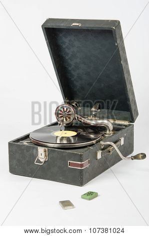 General View Of The Gramophone, Lie Next To The Box With The Gramophone Needles