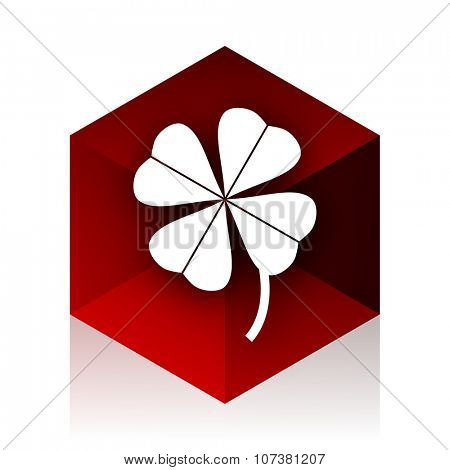 four-leaf clover red cube 3d modern design icon on white background