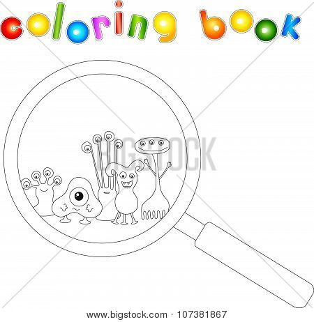 Cartoon Microbes Peek Out From A Magnifying Lens. Coloring Book For Kids
