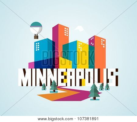 Minneapolis destination brand logo. vector cartoon